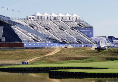 Check out the size of the first tee grandstand at the Ryder Cup